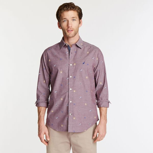 BIG & TALL SHORT SLEEVE OXFORD SHIRT IN NAUTICAL ICON PRINT - Zinfandel