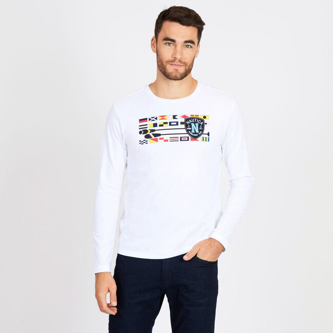 Big & Tall Flags + Oars Crewneck Long Sleeve Tee,Bright White,large