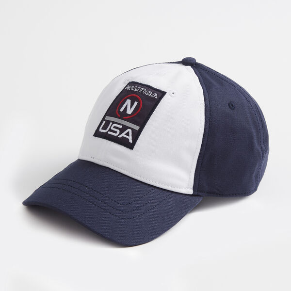 LOGO AND STAR EMBROIDERED COLORBLOCK CAP - Navy