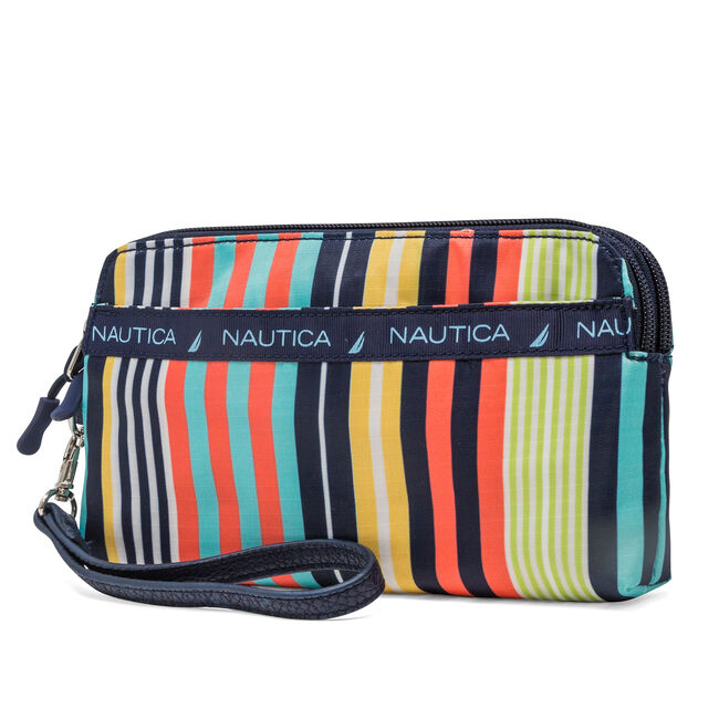Captian's Quarters Double Zip-Around Wristlet with Battery Charger,Multi,large