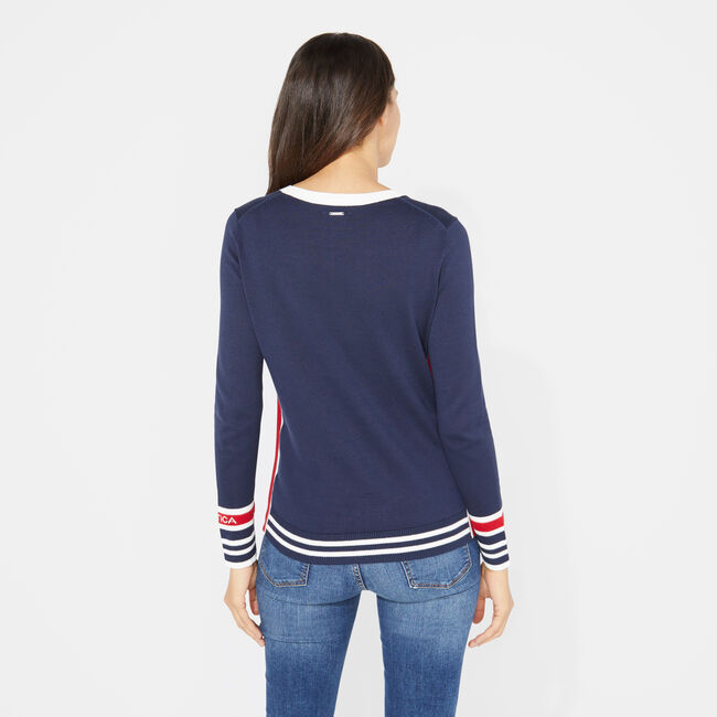 LONG SLEEVE COLORBLOCK SPORTY PULLOVER SWEATER,Stellar Blue Heather,large