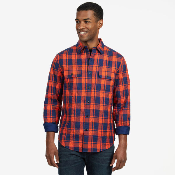 Quilted Plaid Twill Classic Fit Long Sleeve Shirt - J Navy