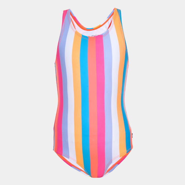 LITTLE GIRLS' COLORFUL STRIPED ONE-PIECE SWIMSUIT (4-7),Neon Coral,large