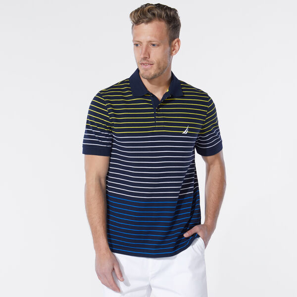CLASSIC FIT STRIPE POLO - Navy