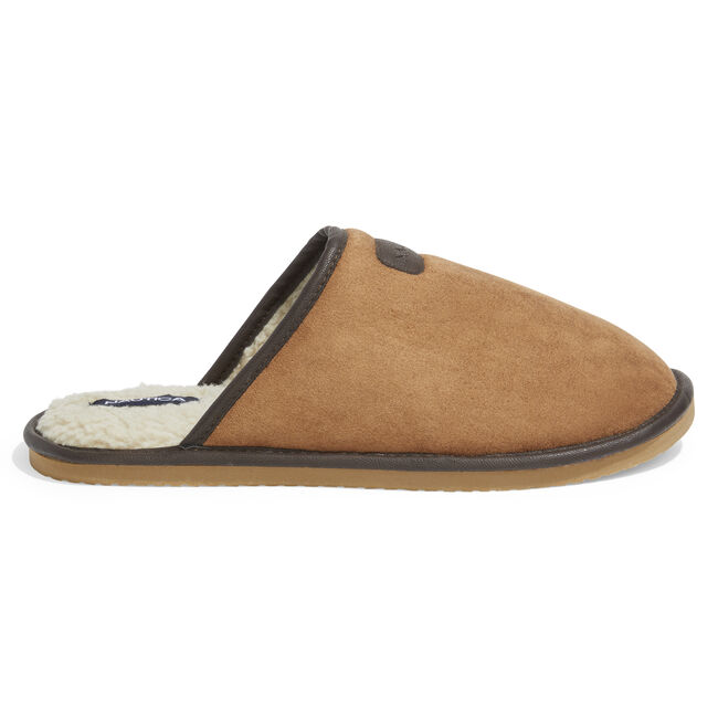 MICROSUEDE FAUX FUR LINED SLIPPERS,Military Tan,large