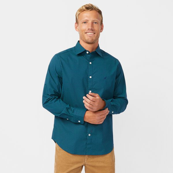CLASSIC FIT WRINKLE-RESISTANT PRINTED SHIRT - Blue Depths