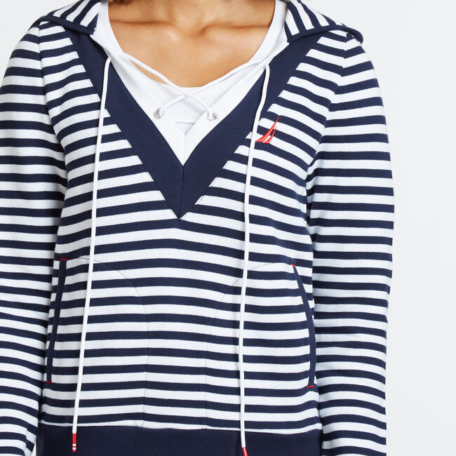 Striped Lace-Up V-Neck Hoodie,Deep Sea,large