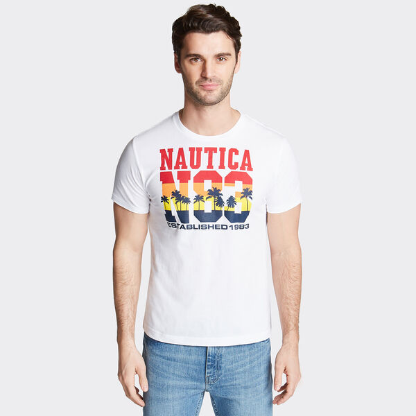 N83 Crewneck T-Shirt in Palm Trees Graphic - Bright White