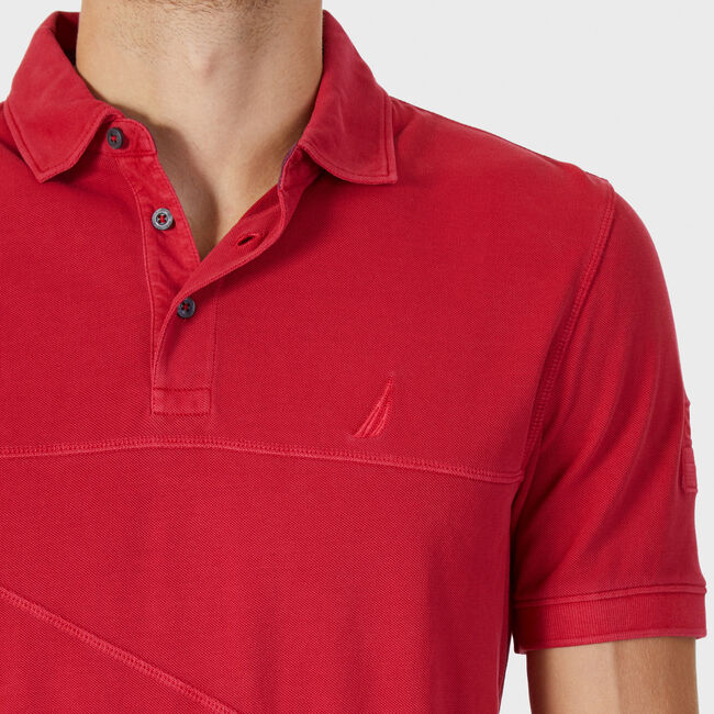 Classic Fit Pieced Polo Shirt,Nautica Red,large