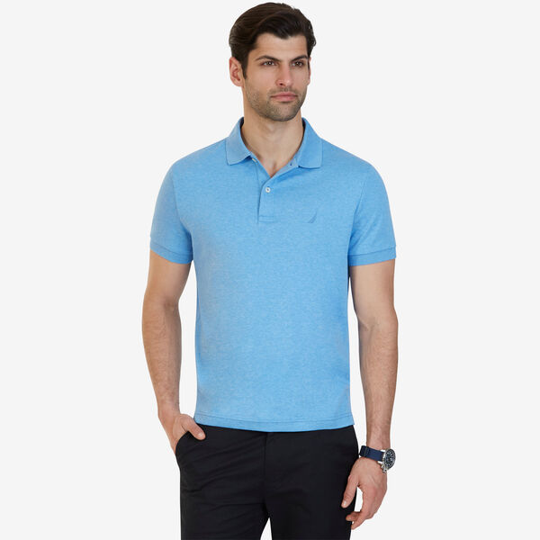 Slim Fit Solid Interlock Cotton Polo - Bright Blue Jig