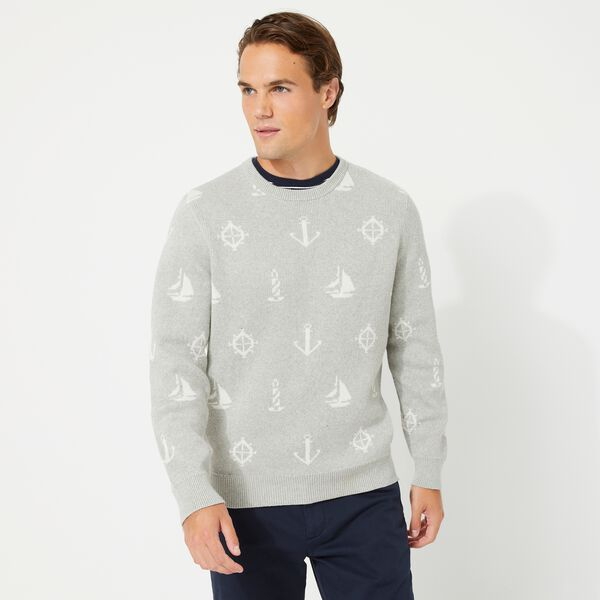 MARITIME PRINT JACQUARD SWEATER - Grey Heather
