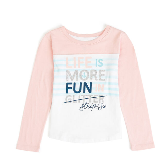 Girls' Life Is More Fun Long Sleeve Tee (7-16),Bow Burgundy,large