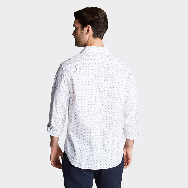 CLASSIC FIT OXFORD SHIRT IN PRINT,Bright White,large