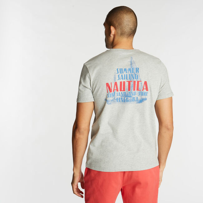 NAUTICA SAILING GRAPHIC T-SHIRT,Grey Heather,large