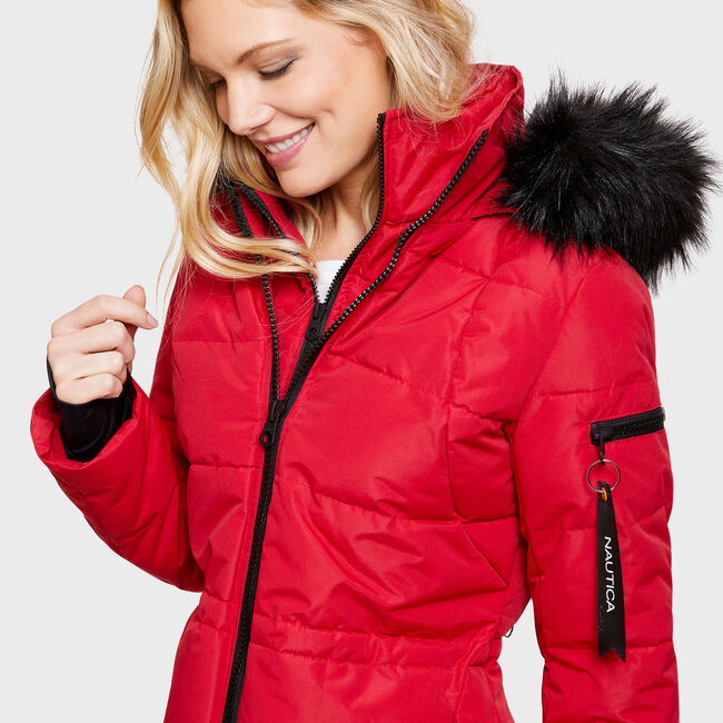 Midweight Sporty Puffer Parka,Tomales Red,large