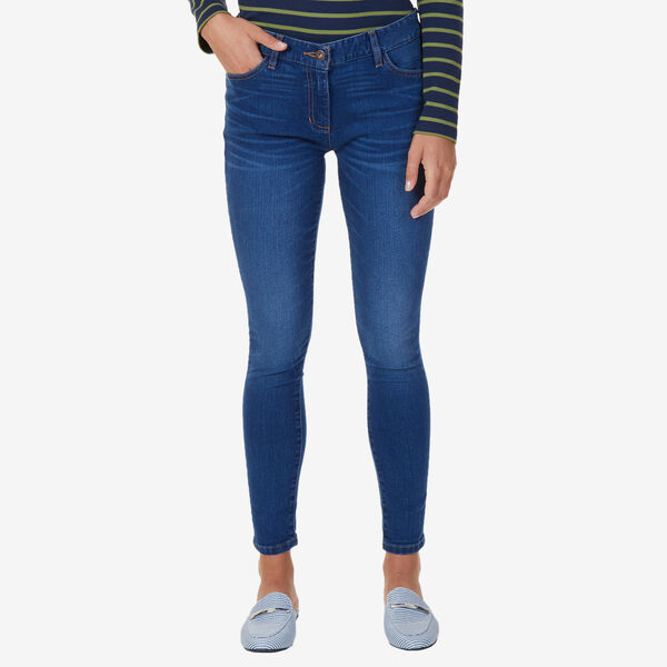 Stretch Skinny Fit Flat Front Jeans - Bayside Blue Wash