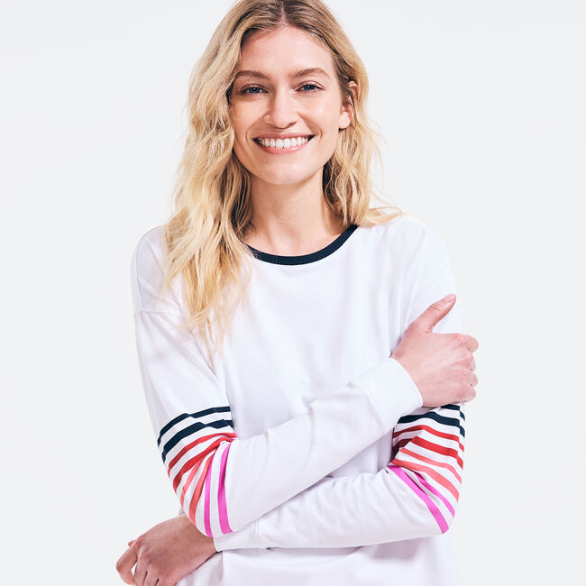 SUSTAINABLY CRAFTED STRIPED-SLEEVE TOP,Bright White,large