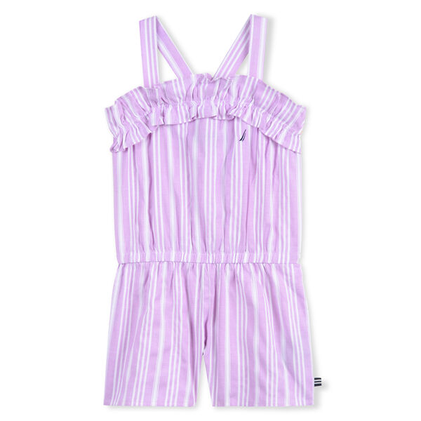 GIRLS' ROMPER IN OXFORD STRIPE - Tulip Pink.
