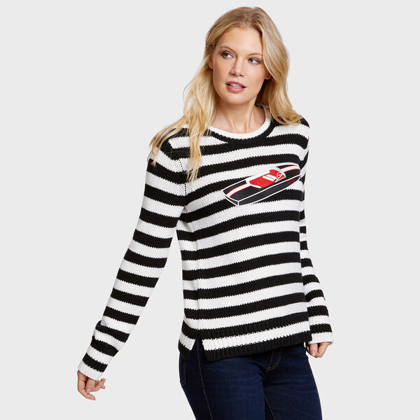 Race Boat + Striped Crewneck Sweater - True Black