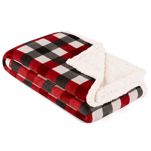 Gratton Ultra-Soft Plush Throw Blanket in Red Plaid - Lure Red