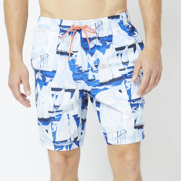 "8"" ALL OVER BOAT PRINT SWIM TRUNKS - Windsurf Blue"