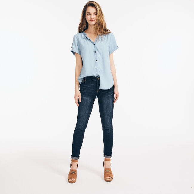 SUSTAINABLY CRAFTED RUFFLED-COLLAR BUTTON-DOWN TOP,Aquasplash,large