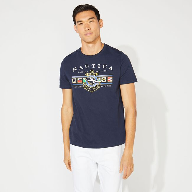 FLAG GRAPHIC TEE,Navy,large