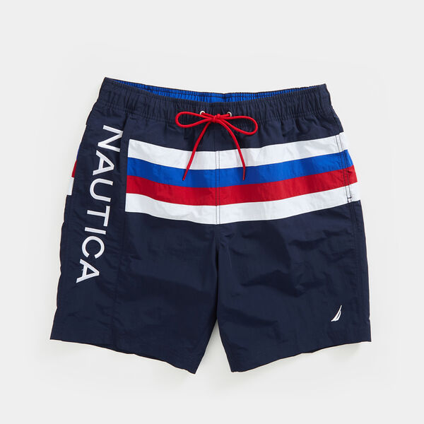"8"" LOGO STRIPE SWIM - Navy"