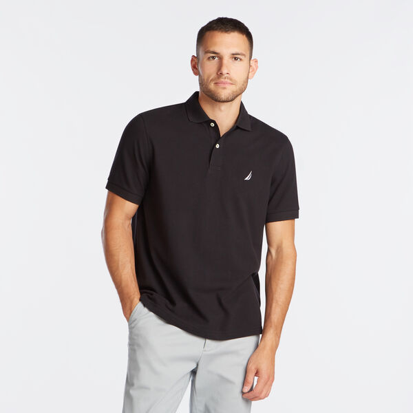 Classic Fit Mesh Polo - True Black