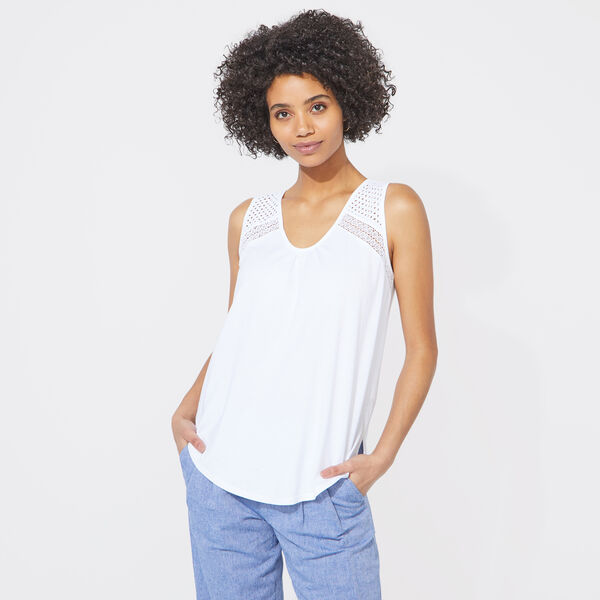 EYELET MIXED MEDIA TANK TOP - Bright White