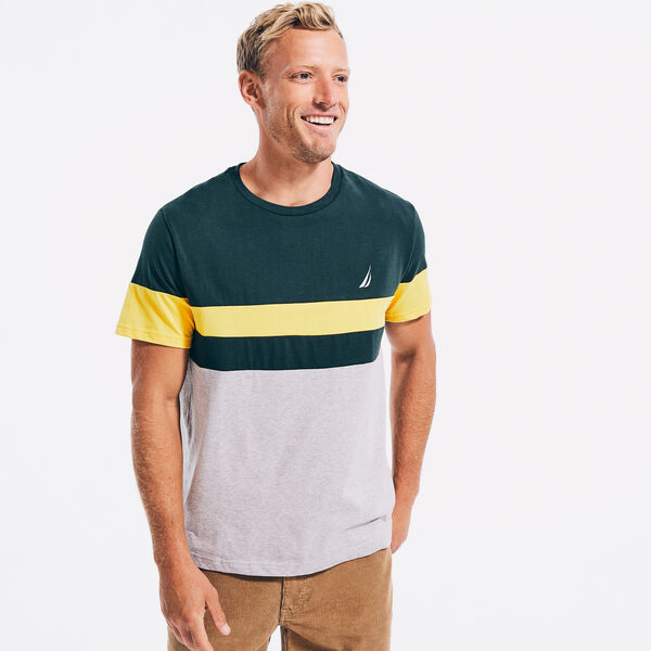 COLORBLOCK PIECED T-SHIRT - Green