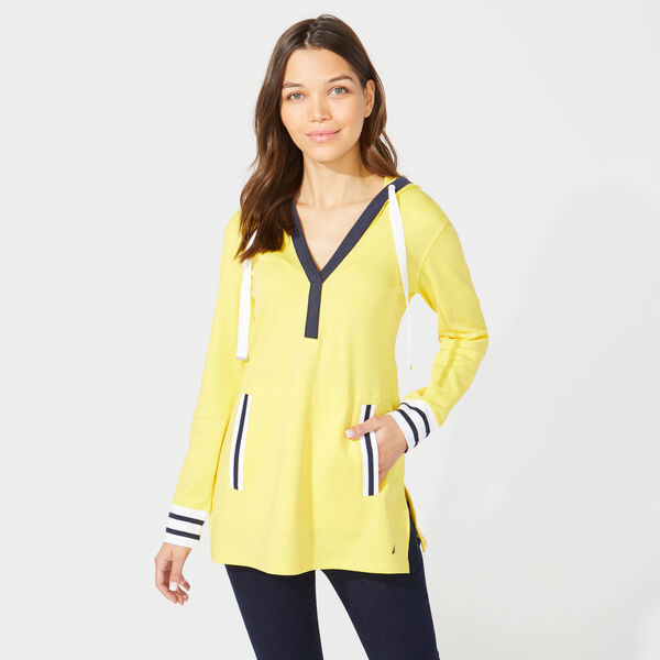 SAIL SPLIT NECK HOODIE - Sun Fish Yellow
