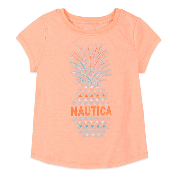 TODDLER GIRLS' PINEAPPLE FOIL GRAPHIC T-SHIRT (2T-4T) - Neon Orange