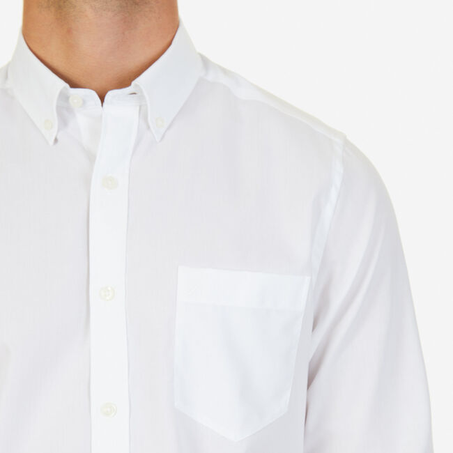 Solid Classic Fit Long Sleeve Button Down,Bright White,large
