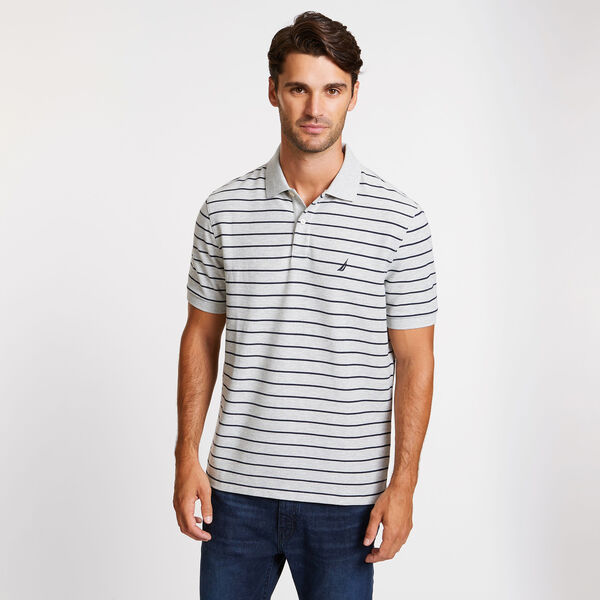 CLASSIC FIT STRIPED DECK POLO - Grey Heather