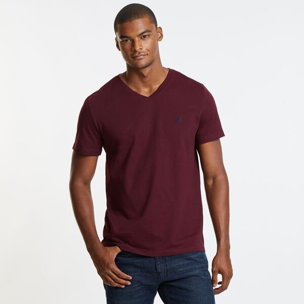 SOLID V-NECK T-SHIRT - Royal Burgundy