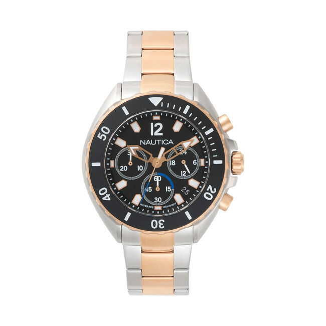 Newport Stainless Steel Two-Tone Watch,True Black,large