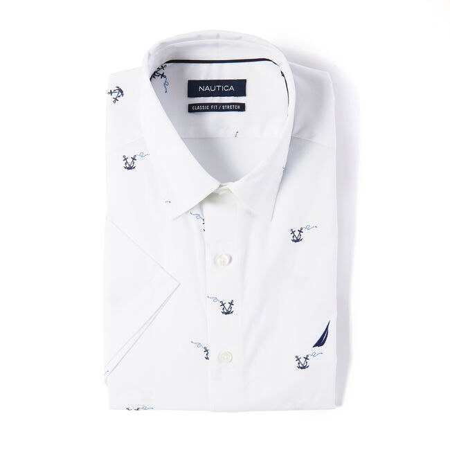 Wrinkle-Resistant Short Sleeve Classic Fit Shirt,Bright White,large