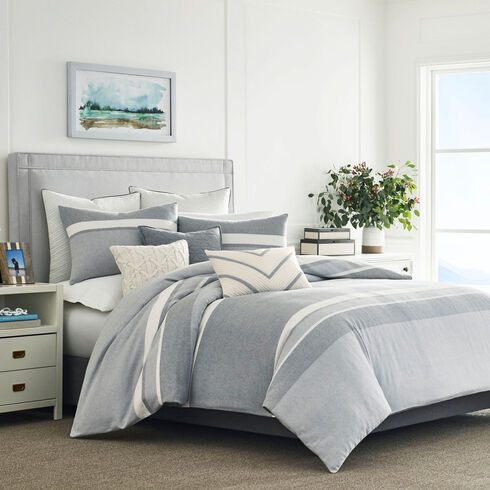 Clearview Gray Twin Duvet & Sham Set - Radial Grey