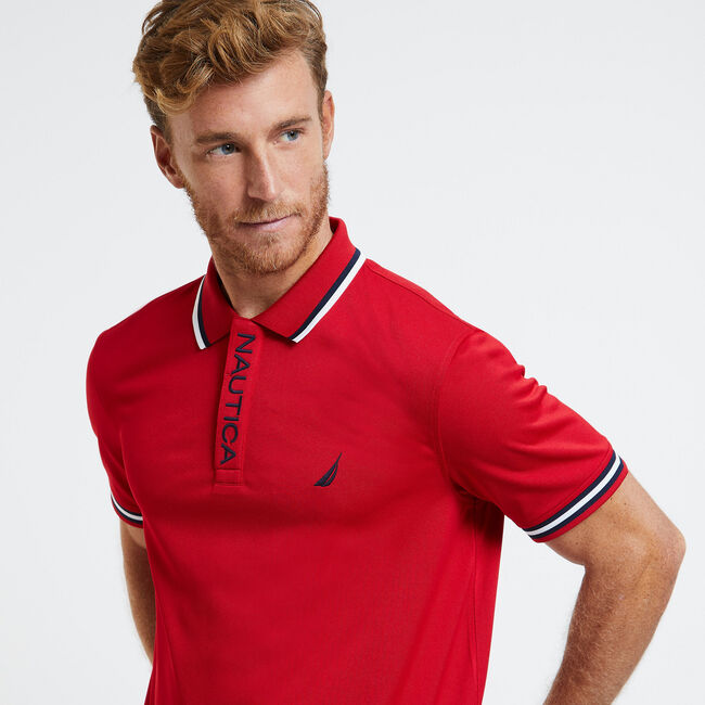 SHORT SLEEVE PERFORMANCE POLO IN CLASSIC FIT,Nautica Red,large