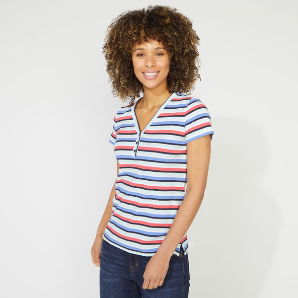 STRIPED RIBBED KNIT HENLEY TOP - Aquabreeze