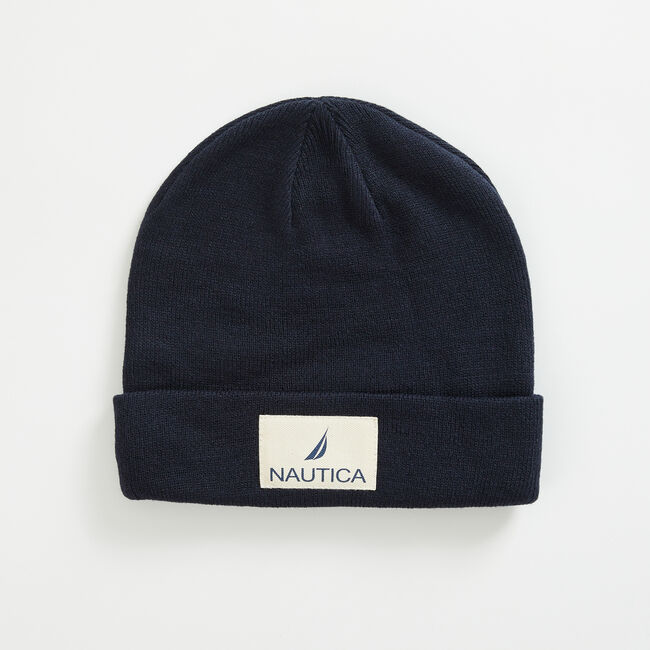 LOGO PATCH CUFFED BEANIE,Navy,large