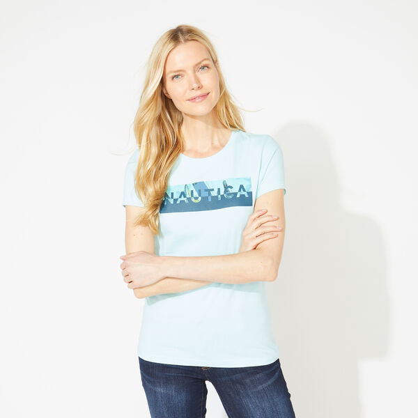 COLORBLOCK LOGO GRAPHIC TEE - Aqua Splash