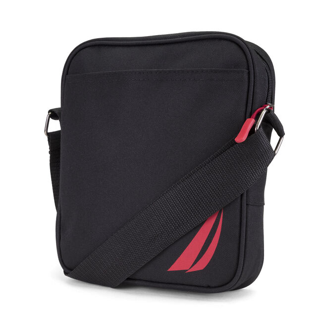 Racer Logo Crossbody Bag in Black,True Black,large