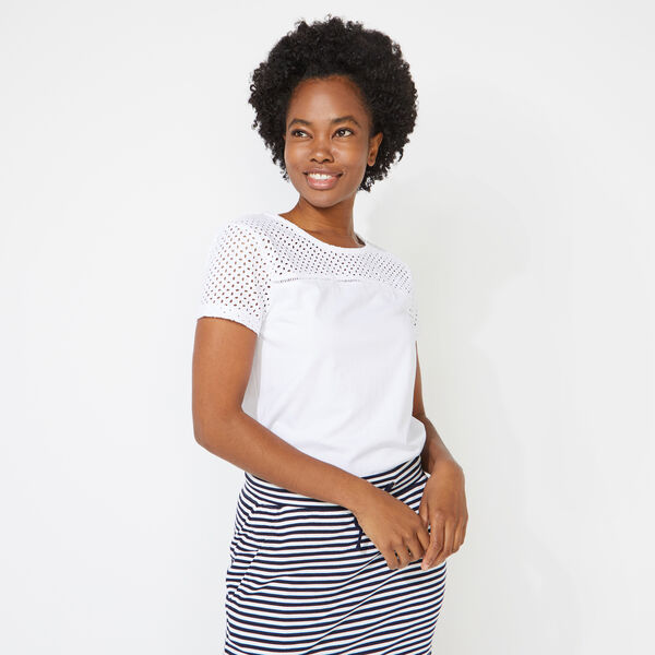 EYELET MIXED MEDIA TOP - Bright White