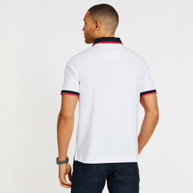 Engineered Chest Stripe Classic Fit Polo,Bright White,large