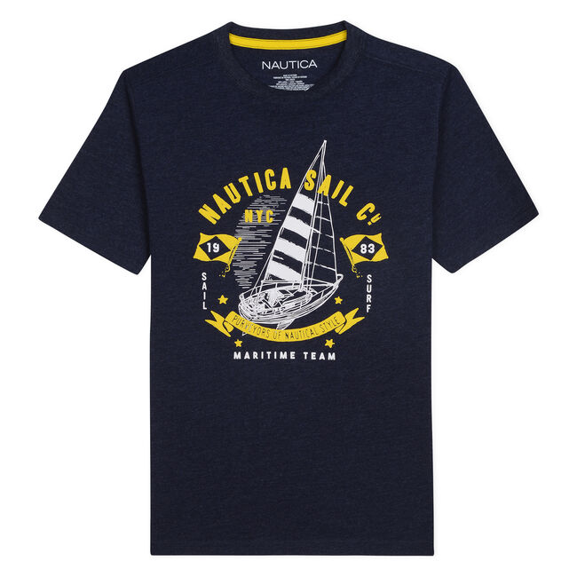 BOYS' JORDAN T-SHIRT IN NYC NAUTICA SAIL CO GRAPHIC,Aquadream,large
