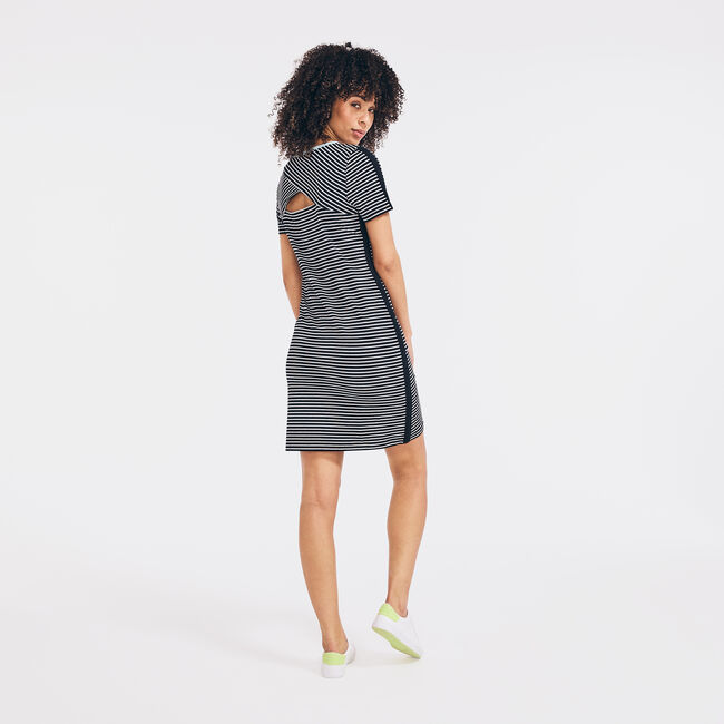 SUSTAINABLY CRAFTED STRIPED COLORBLOCK DRESS,True Black,large