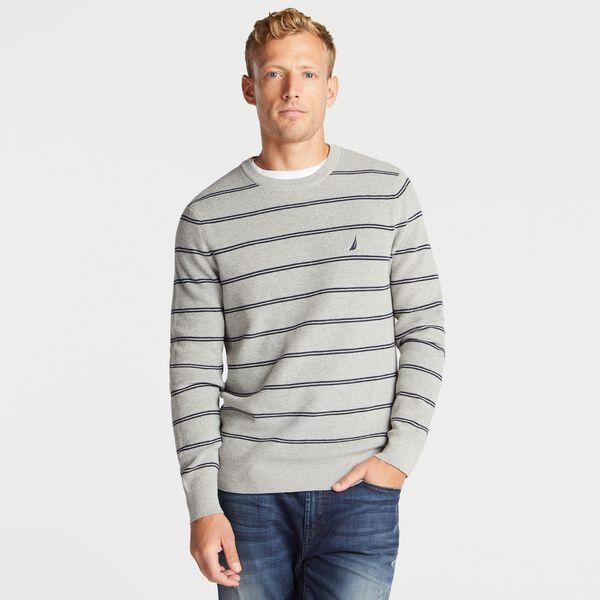 NAVTECH STRIPED CREWNECK SWEATER - Grey Heather