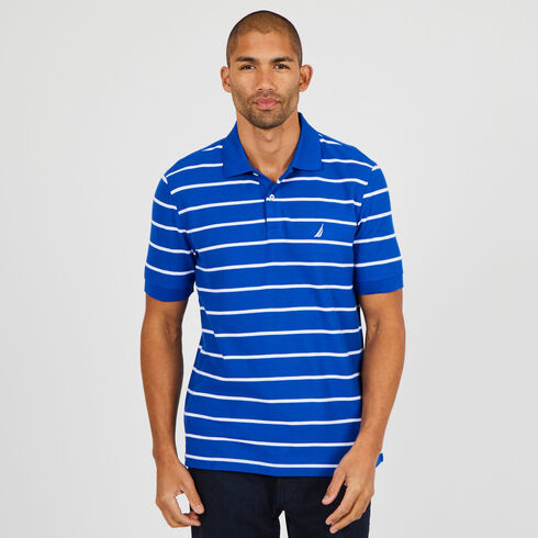 Short Sleeve Classic Fit Striped Deck Polo - Bright Cobalt